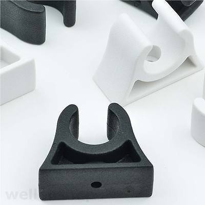 10x Bootshakenhalter schwarz weiß Halter Clip Schelle Halterung Rohr-schelle