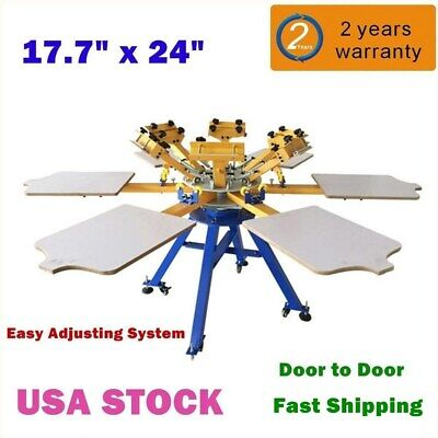 Us-6 Color 6 Station Silk Screen Printing Machine T-shirt Printer Equipment