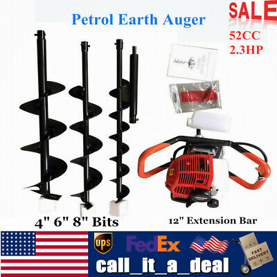52cc 2.3hp Gas Post Earth Hole Auger Digger Borer W Auger Bit 4 6 8 2-stroke