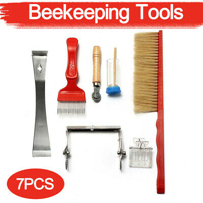 7X Bee Stainless Steel Smoker Chisel Hive Tool &Bee Brush Queen Catcher Set UK