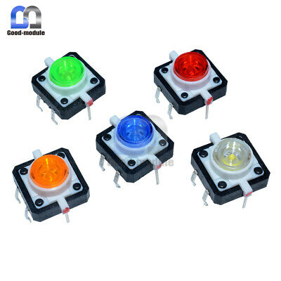 5pcs 12x12x7.3mm 5 Color Tactile Push Button Switch Momentary Tact Led