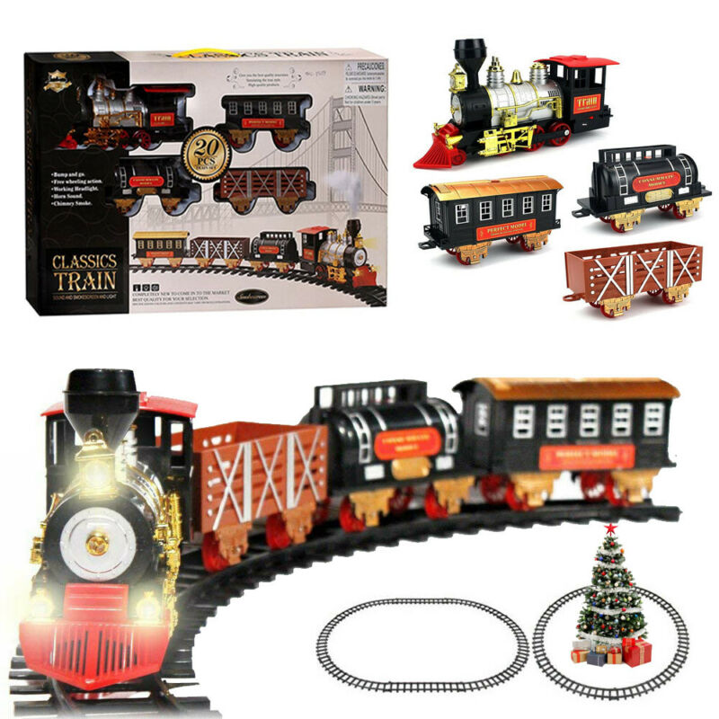 Classic Christmas Train Set With Light Sound Smoke Kids Toy Children Xmas Gift