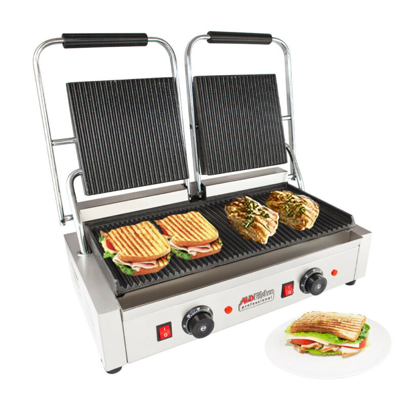 Double Panini Press | Sandwich Machine with Ribbed Plates | Adjustable Control