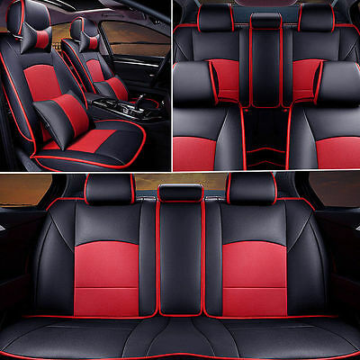 US Black/Red PU Leather Seat Cover For Ford F-150 2010-2016 Front+Rear+Pillows