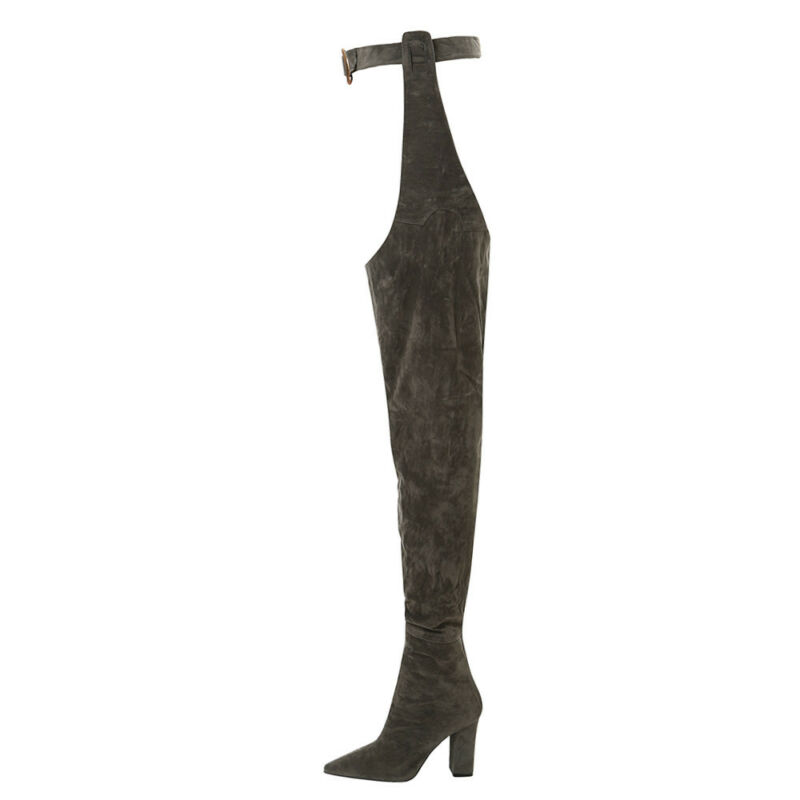 Women Ladies Over The Knee Pointed Belt Thigh High Boots High Heels Long Boots 1