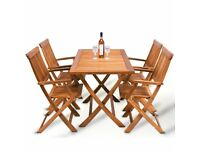 WOODEN GARDEN DINING TABLE AND CHAIRS SET