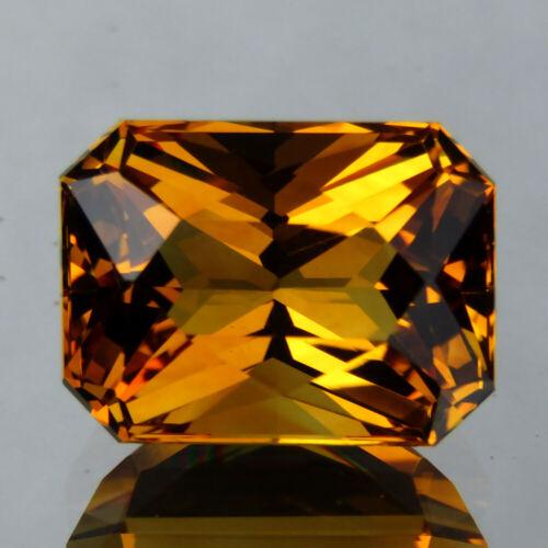 7.92CT SPLENDID RADIANT CUT NATURAL GOLDEN ORANGE CITRINE 13.6x10.2 MM LOOSE GEM