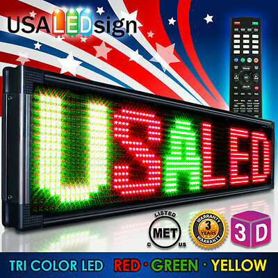 "LED Sign 3Color 15""x41"" RGY Programmable Scrolling Outdoor Message Display Open"