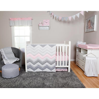 - Girls Crib Bedding Pink Gray Chevron Zig 3 PC Set Baby Infant Toddler Quilt NEW