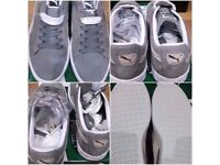 MENS NEW SUEDE PUMA CASUAL SHOES grey/white -2 sets of laces REAL NOT FAKE!