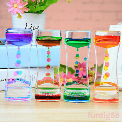 Double Color Sand Hourglasses Floating Oil Liquid Timer Glass Home Desk Decor