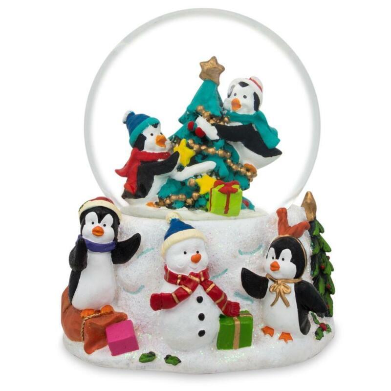 Penguins Decorating Christmas Tree Water Snow Globe