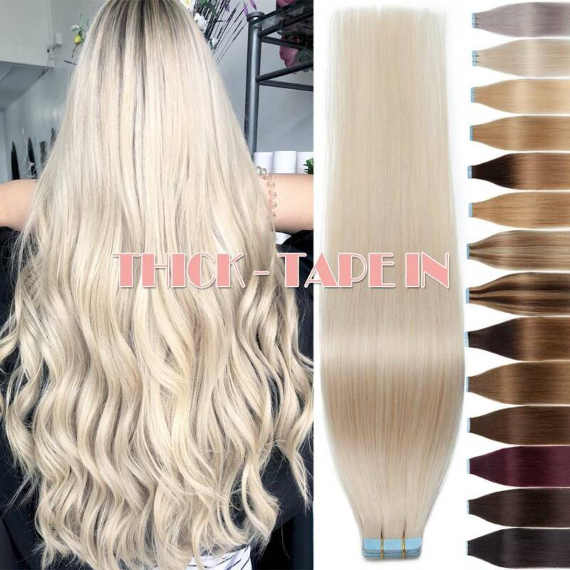 Thick 150G+ Tape In Remy Human Hair Extensions Full Head Ski