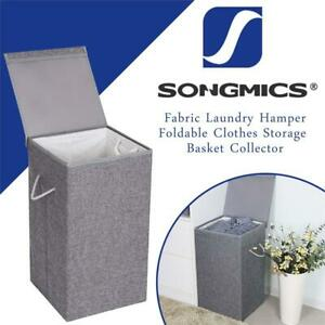 NEW SONGMICS Fabric Laundry Hamper Foldable Clothes Storage Basket Collector with Detachable Lid Liner and Handles 85...