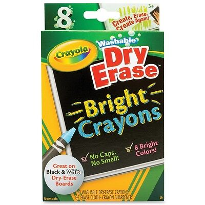 Crayola Washable Dry Erase Crayons Bright Colors Assorted 8 Ea