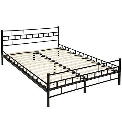 140x200 cm Schlafzimmerbett Metallbett Bettgestell Bett Doppelbett + Lattenrost