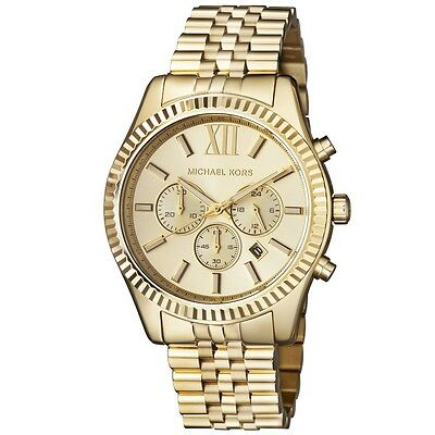 New Michael Kors Lexington Gold Stainless Steel Chronograph MK8281 Men's (Michael Kors Mens Gold)