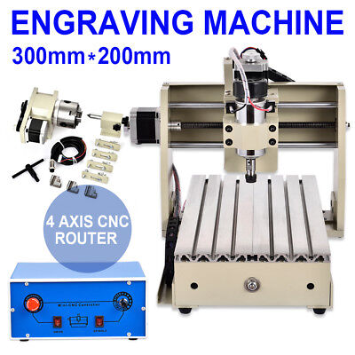 4 Axis Cnc Router 3020 Engraver Engraving Machine Carving 3d Cutter Drilling Usa