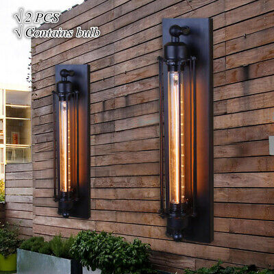 2 Bulb Wall - 2*Vintage Industrial Wall Lamp Metal Sconce Light Fixture Edison Flute with Bulb