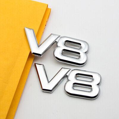 2Pcs Metal V8 Logo Engine Badge Chrome Fender Trunk Turbo Sports Emblem Sticker