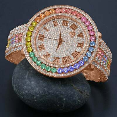Men's Pink Rose Gold Tone Rainbow Cz's XXL Bezel New W/ Date Wrist Custom Watch