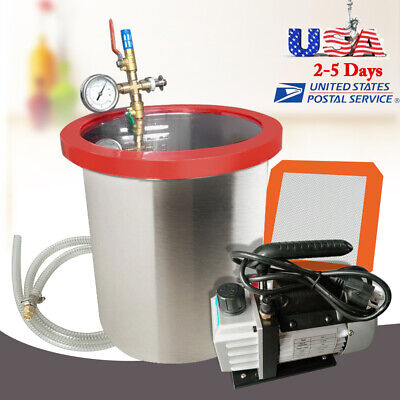 5 Gallon Stainless Vacuum Degassing Chamber W 14hp 3cfm Single Stage Pump Usa
