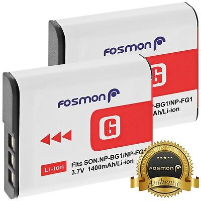2 PACK Fosmon NP-BG1 NP-FG1 1400mAh High Capacity Replacement Battery for Sony
