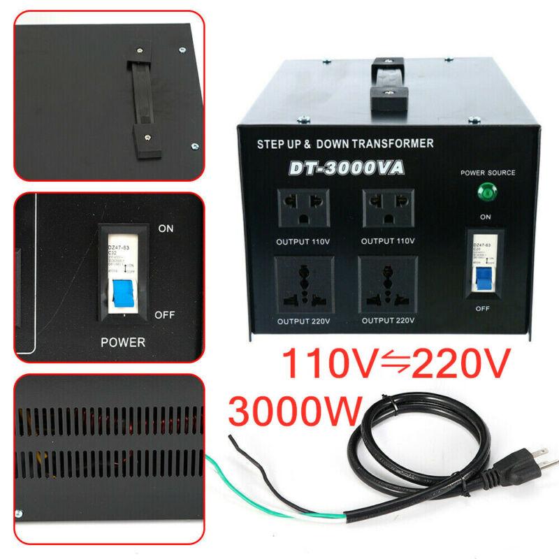 3000W Voltage Converter Transformer Heavy-Duty Step Up Down 110/220V to 220/110V
