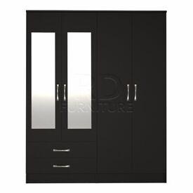 Classic 4 door 2 drawer mirrored wardrobe black finish