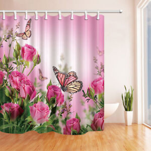 Pink Roses And Butterflies Shower Curtain Bathroom Decor U0026 12hooks  71*71inches