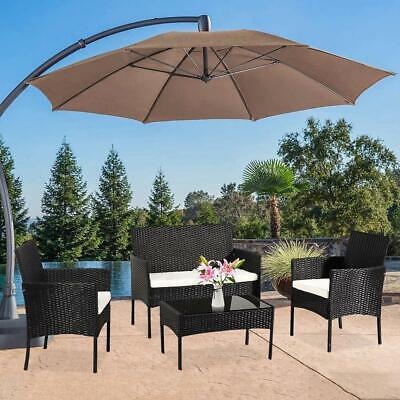 Garden Furniture - Outdoor Patio Wicker Sofa Set 4 PCS Rattan Sectional Furniture Garden Cushioned