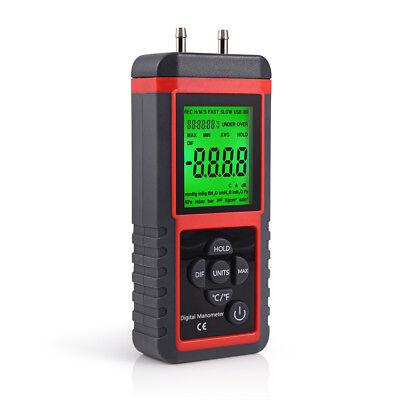 Digital Manometer With Lcd Display Dual Port Air Pressure Meter Gauge Gas Tester
