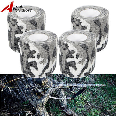 4 Rolls 4.5M White Camo Gun Wrap Rifle Shotgun Hunting Camouflage Stealth Tape