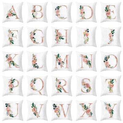 ILJ:26Alphabet Floral Print Soft Throw Pillow Case Waist Cushion Cover Sofa Deco ()