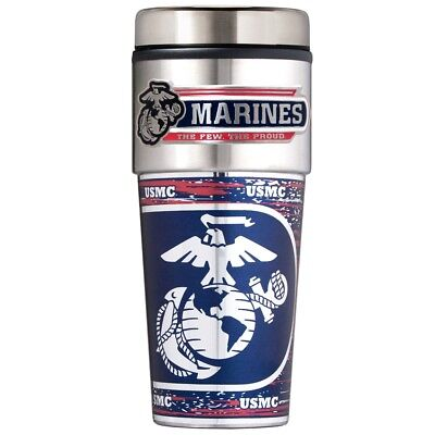 UNITED STATES MARINES 16 OZ. STAINLESS STEEL COFFEE TRAVEL MUG WITH 3-D -