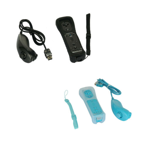 2 Pack Built in Motion Plus Remote Gesture Controller + Nunchuck For Wii & Wii U