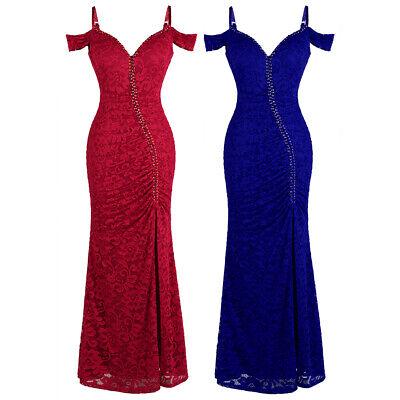 Angel-fashions Women's Spaghetti V Neck Lace Split Beaded Sheath Party Dress 425