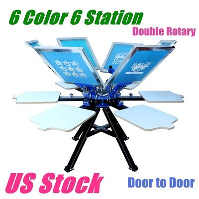 6 Color 6 Station Silk Screen Printing Press Printer Print Equipment Usa Stock