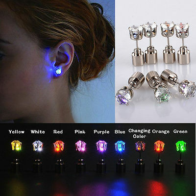 2 Pcs LED Light Up Bright Women Earring Ear Stud Luminous for DJ Dance Party Bar