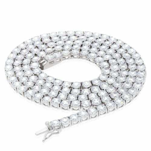 36Ct Created Diamond Solid 925 Sterling Silver 4mm Tennis Chain Necklace 24 1