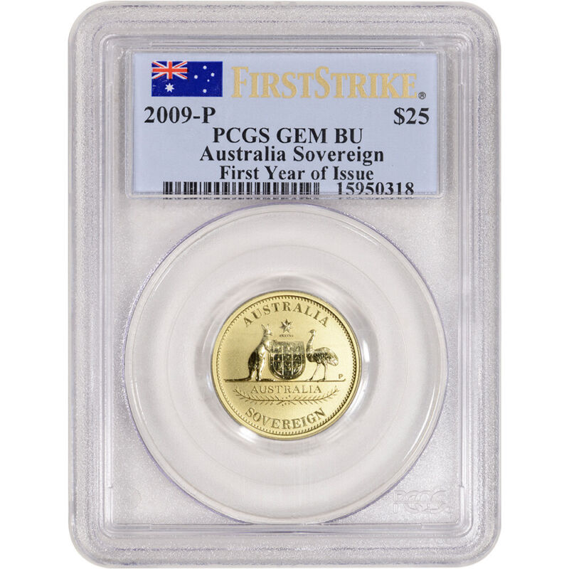 2009 P Australia Gold Sovereign $25 - PCGS Gem BU First Strike