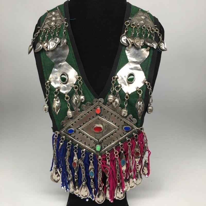 Vintage Turkmen Necklace Multi Pendant on Hand Sawn Soft Fabric Handmade,TN245