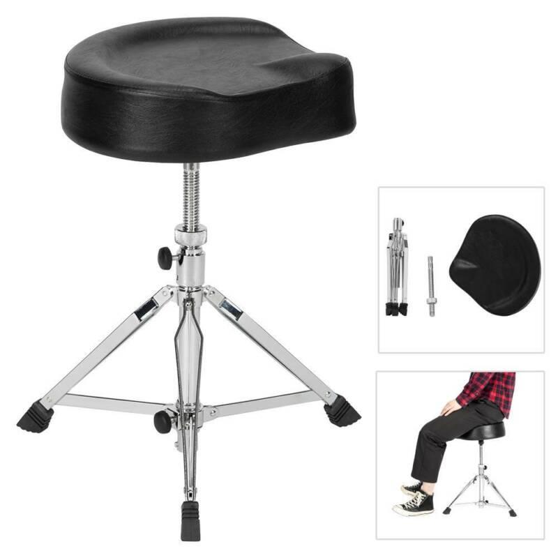 Saddle Drum Stool Throne Drummer Seat Pad Chair Adjustable Folding Stand Black