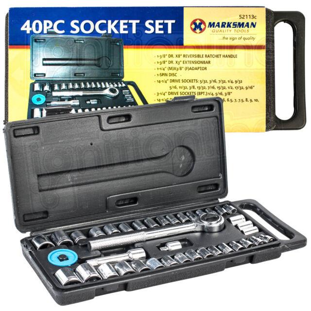 "40pc Socket Set 1/4"" & 3/8"" Torx Ratchet Complete Tool Kit Case with Handle"