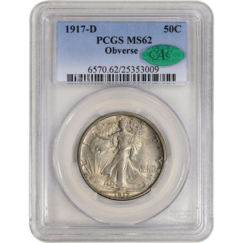 1917-D US Walking Liberty Silver Half Dollar 50C - Obverse - PCGS MS62 CAC