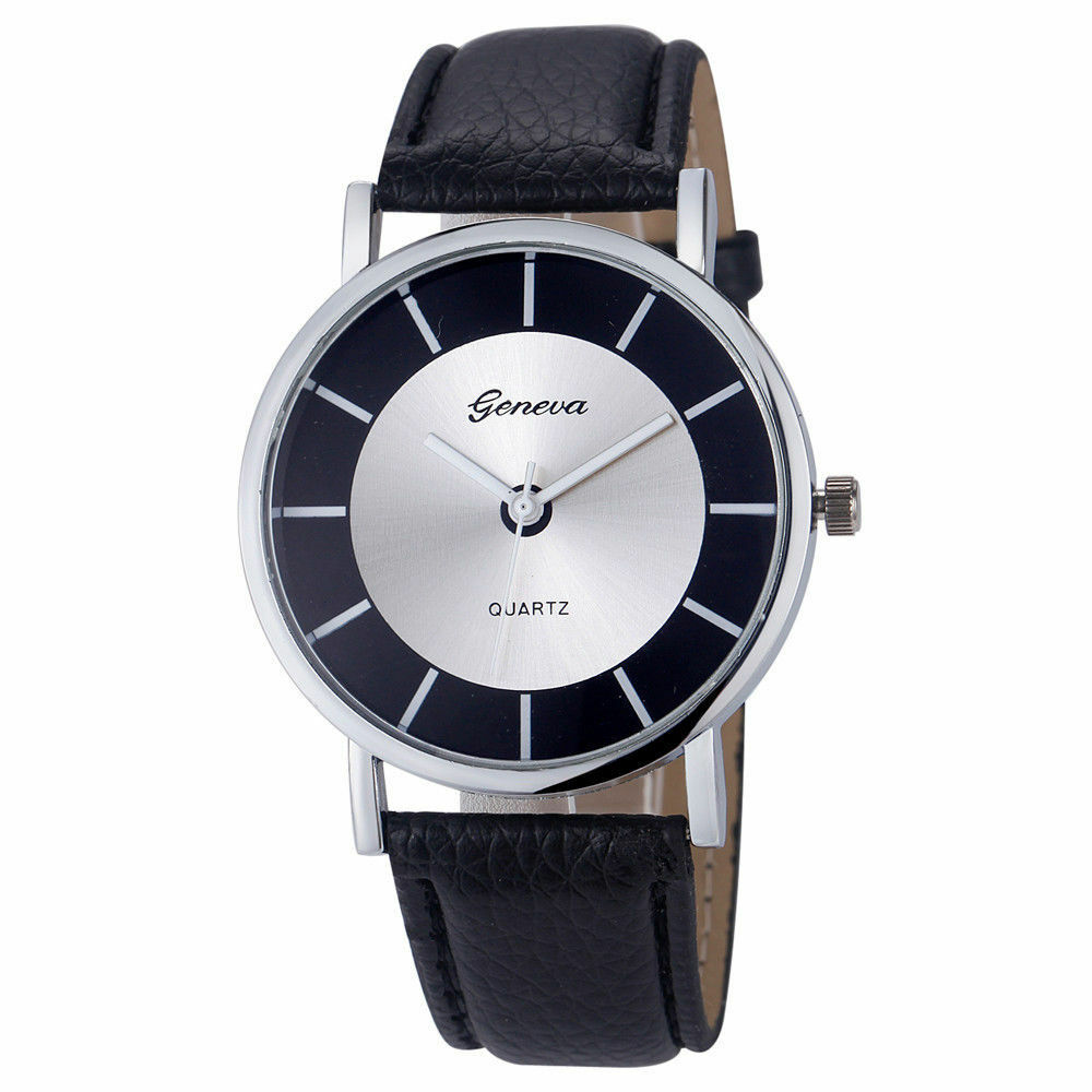 New Luxury Geneva Stainless Black Leather Women Lady Quartz Dress Fashion Watch
