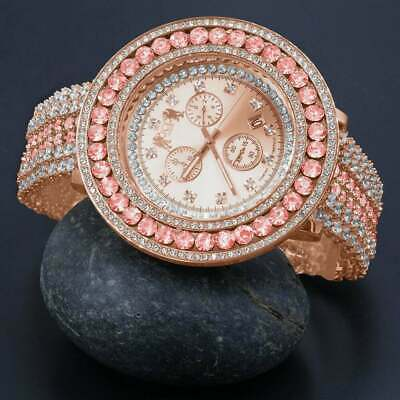 Pink Solitaire Roman Face Simulated Diamond 18K Rose Gold Tone W/Date Watch New