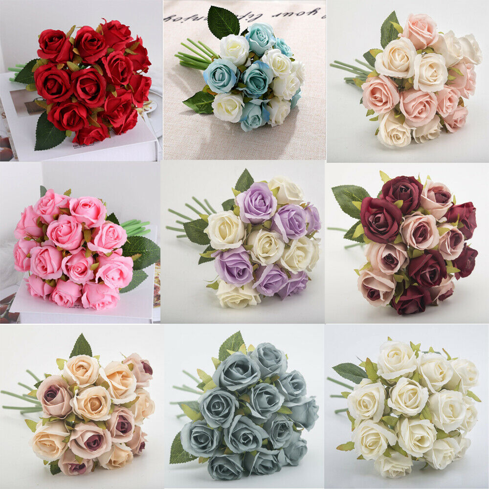 Home Decoration - 12 Heads Artificial Silk Flowers Bunch Rose Bouquet Wedding Home Party Decor New