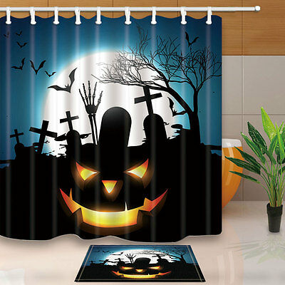 Halloween Shower Curtain Set Pumpkin With Bat Full Moon Grave Bathroom Curtain - Grave Halloween Full