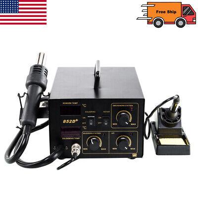 852d 2in1 Soldering Rework Stations Smd Hot Air Iron Gun Digital Display 110v